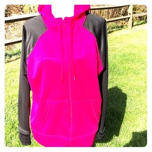 Danskin Hot Pink and Black Zip Up Jacket. Size XL